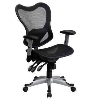 Mid-Back Black Mesh Chair with Triple Paddle Control