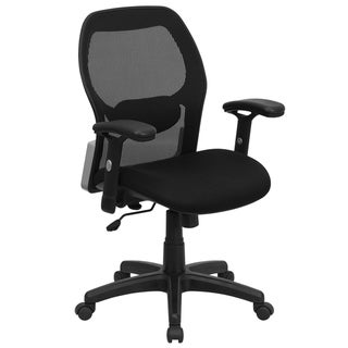 Mid-Back Black Super Mesh Executive Office Chair with Adjustable Lumbar & Arms