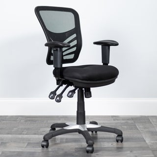 Black Mesh Mid-back Chair with Triple Paddle Control