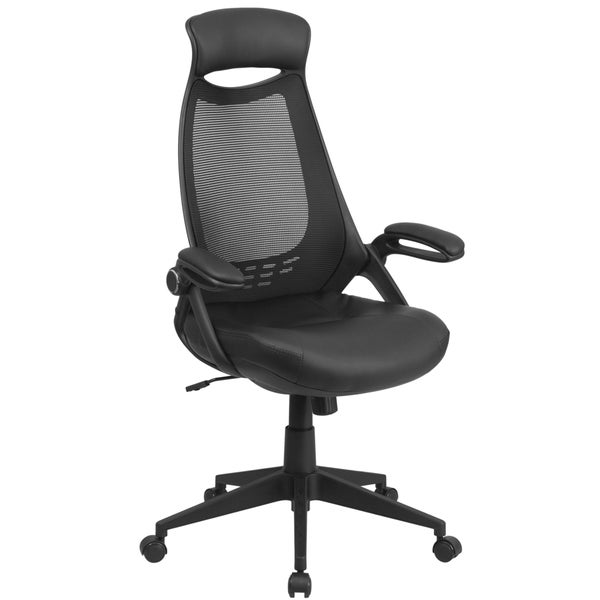 High Back Executive Black Mesh Chair with Leather Seat and Flip-Up Arms