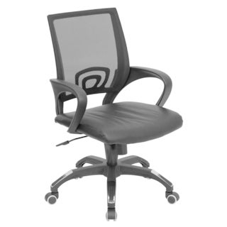 Mid-Back Mesh Computer Chair with Leather Seat