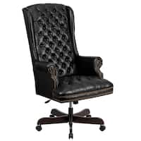 High-back Traditional Tufted Leather Executive Office Chair