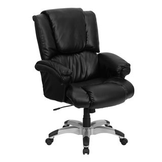 High Back Black LeatherSoft OverStuffed Office Chair with Fully Upholstered Arms