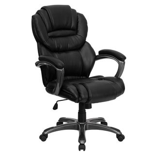 High Back Leather Executive Office Chair with Leather Padded Loop Arms