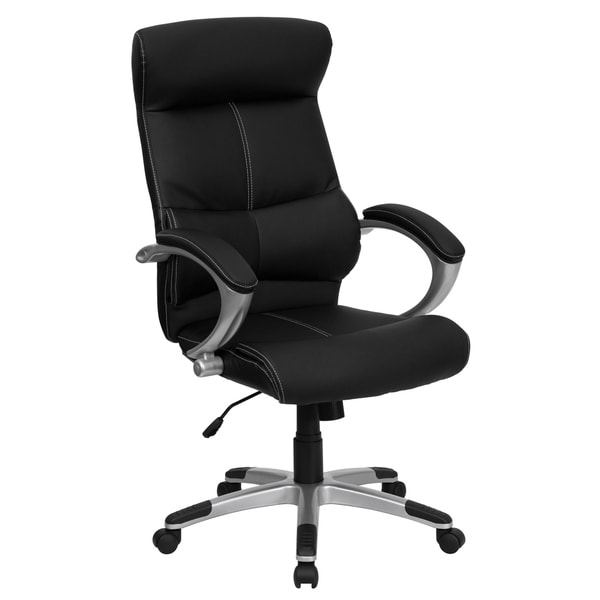 High Back Black LeatherSoft Executive Swivel Office Chair with Curved Headrest