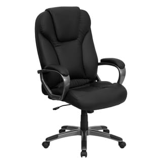 Executive High-back Black Leather Office Chair