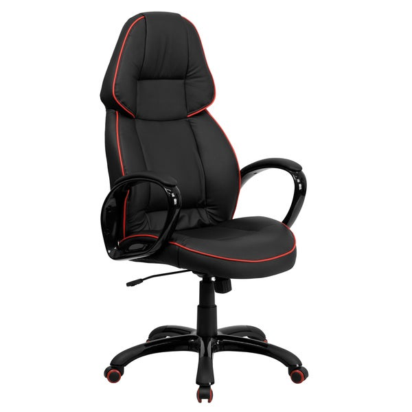 High Back Black Vinyl Executive Office Chair with Red Pipeline Border