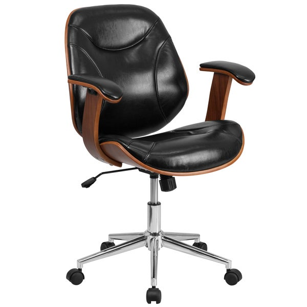mid-back black leather executive wood office chair - free shipping