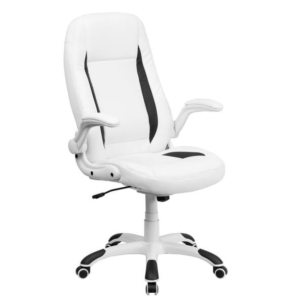 high back white leather executive office chair with flip up arms