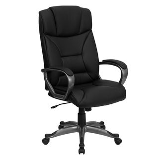 High Back Black LeatherSoft Executive Swivel Office Chair w/Lip Edge Base & Arms