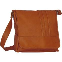 David King Leather 139 Vertical Laptop Messenger w/ 3 Stripes Tan