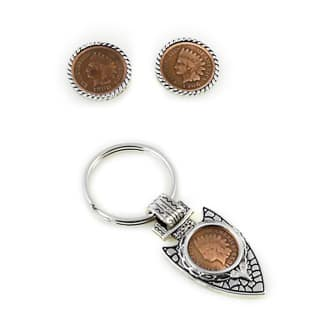Indian Head Penny Rope Cuff Links and Arrow Head Keychain Gift Set - Silver