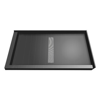 Redi Trench 42 x 60 Shower Pan Center Designer BN Trench Drain L Dual Curb