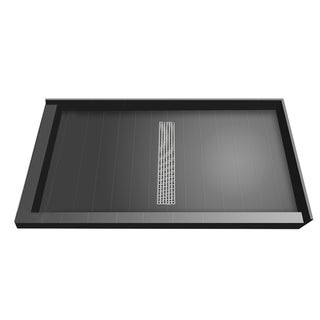 Redi Trench 42 x 60 Shower Pan Center Designer PC Trench Drain L Dual Curb