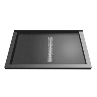 Redi Trench 42 x 60 Shower Pan Center Designer BN Trench Drain Triple Curb