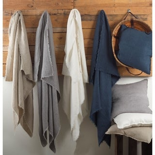 Waffle Weave Design Linen Throw Blanket