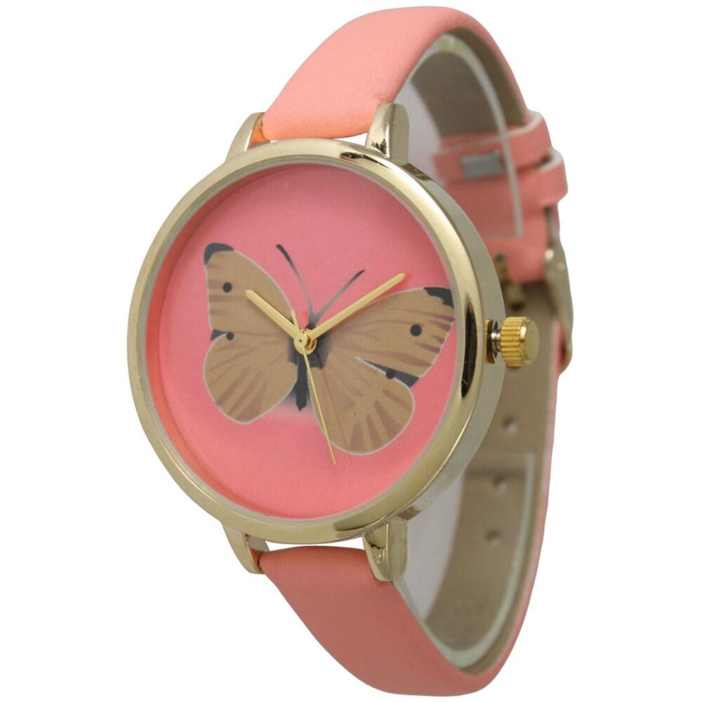 Olivia Pratt Women's Butterfly Skinny Leather Band Watch ...
