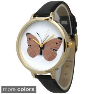 Olivia Pratt Women's Butterfly Skinny Leather Band Watch