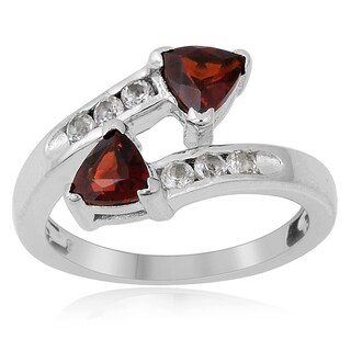 Sterling Silver Trillion-cut Garnet and White Topaz Ring