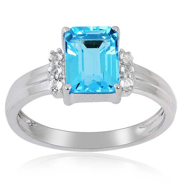 Sterling Silver Octagon Swiss Blue Topaz and White Topaz Ring
