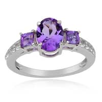 Sterling Silver 3-stone Amethyst and White Topaz Ring