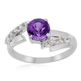 Sterling Silver Round Amethyst and White Topaz Ring