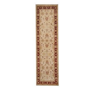 Herat Oriental Afghan Hand-knotted Vegetable Dye Oushak Ivory/ Red Wool Rug (2'8 x 9'8)