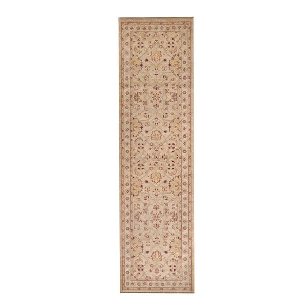 Herat Oriental Afghan Hand-knotted Vegetable Dye Oushak Ivory/ Red Wool Rug (2'7 x 9'8)