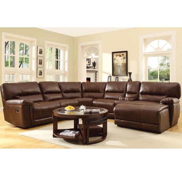 Hardy bonded leather reclining sectional with chaise for Bonded leather sectional with chaise