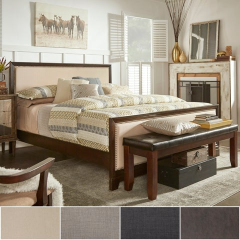 Oliver Upholstered Panel Dark Walnut Wood Bed by iNSPIRE Q Classic