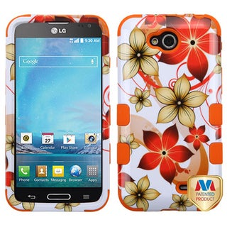 Insten Hibiscus Flower Tuff Hard PC/ Silicone Dual Layer Hybrid Phone Case Cover with Stand For LG Optimus L90