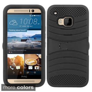Insten Soft Silicone/ PC Dual Layer Hybrid Rubber Phone Case Cover with Stand For HTC One M9