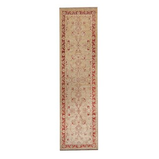 Herat Oriental Afghan Hand-knotted Vegetable Dye Oushak Ivory/ Red Wool Rug (2'7 x 9'9)