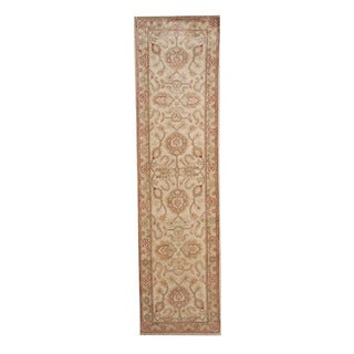 Herat Oriental Afghan Hand-knotted Vegetable Dye Oushak Ivory/ Light Brown Wool Rug (2'7 x 9'10)
