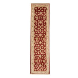 Herat Oriental Afghan Hand-knotted Vegetable Dye Oushak Red/ Ivory Wool Rug (2'6 x 9'6)