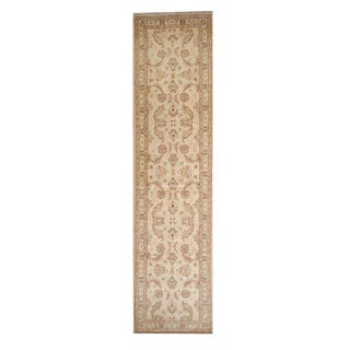 Herat Oriental Afghan Hand-knotted Vegetable Dye Oushak Ivory/ Gold Wool Rug (2'7 x 10'5)