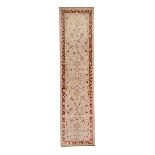 Herat Oriental Afghan Hand-knotted Vegetable Dye Oushak Ivory/ Red Wool Rug (2'5 x 9'10) - 2'5 x 9'10