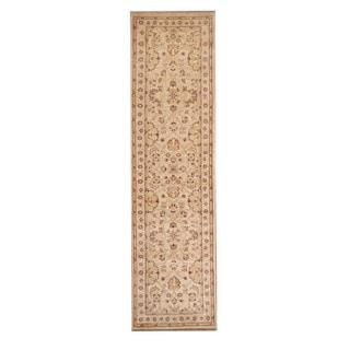 Herat Oriental Afghan Hand-knotted Vegetable Dye Oushak Ivory/ Beige Wool Rug (2'7 x 9'10)