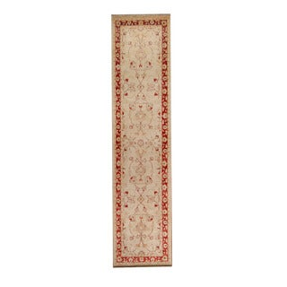 Herat Oriental Afghan Hand-knotted Vegetable Dye Oushak Ivory/ Red Wool Rug (2'4 x 9'11)