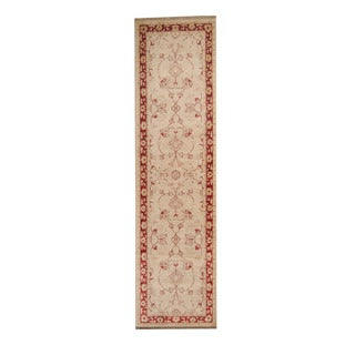 Herat Oriental Afghan Hand-knotted Vegetable Dye Oushak Ivory/ Red Wool Rug (2'6 x 9'5) - 2'6 x 9'5