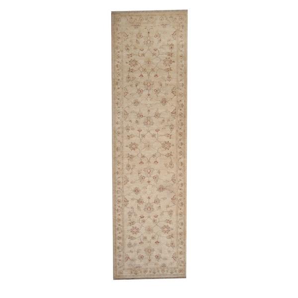 Herat Oriental Afghan Hand-knotted Vegetable Dye Oushak Ivory/ Beige Wool Rug (2'9 x 9'9) - 2'9 x 9'9