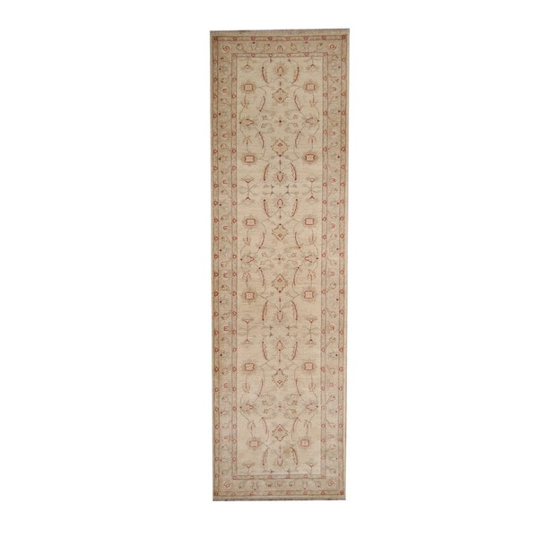 Herat Oriental Afghan Hand-knotted Vegetable Dye Oushak Ivory/ Beige Wool Rug (2'9 x 9'5)