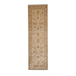 Herat Oriental Afghan Hand-knotted Vegetable Dye Oushak Ivory/ Beige Wool Rug (2'9 x 9')