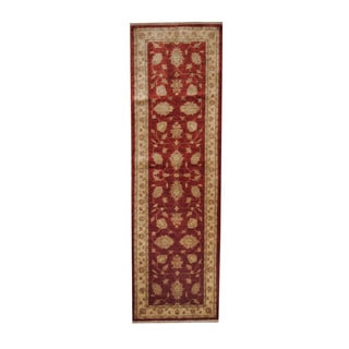 Herat Oriental Afghan Hand-knotted Vegetable Dye Oushak Red/ Ivory Wool Rug (2'8 x 9')