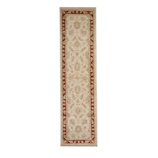Herat Oriental Afghan Hand-knotted Vegetable Dye Oushak Ivory/ Red Wool Rug (2'6 x 9'5)