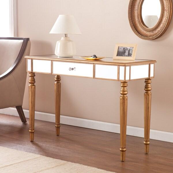 Beautiful Harper Blvd Champagne Gold Fontaine Mirrored Sofa/ Console Table
