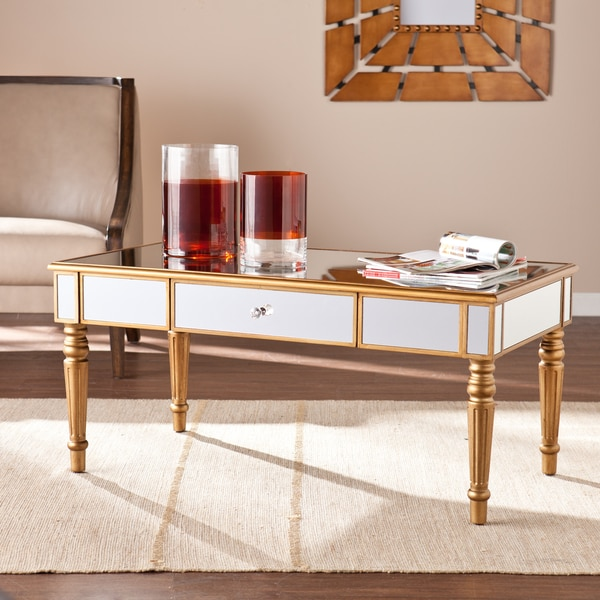Gold Outdoor Coffee Table: Shop Harper Blvd Champagne Gold Fontaine Mirrored Cocktail