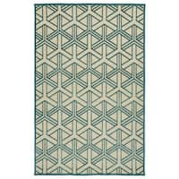 Indoor/Outdoor Luka Blue Dimensions Rug - 7'10 x 10'8