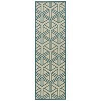 Indoor/Outdoor Luka Blue Dimensions Rug - 2'6 x 7'10