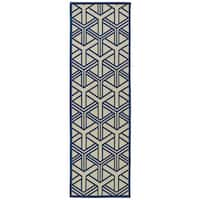 Indoor/Outdoor Luka Navy Dimensions Rug - 2'6 x 7'10